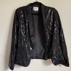 LOFT Black Sequin Blazer